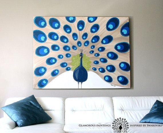 Acrylic painting Majestic  extra large peacock by LydiaGee on Etsy