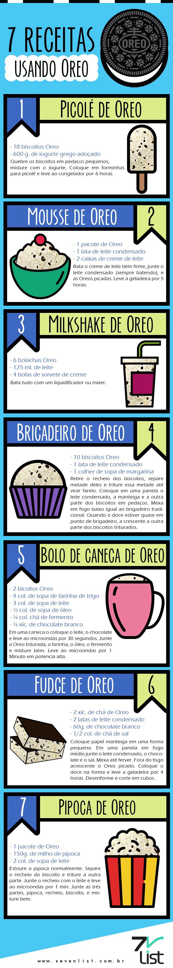 07 DELICIOSAS RECEITAS  DOCES COM BISCOITO OREO OU SIMILARES