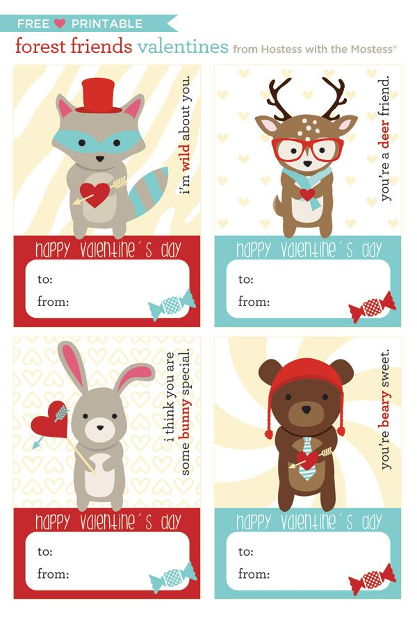 Free printables Forest Friends Valentines! #valentinesday #freeprintable