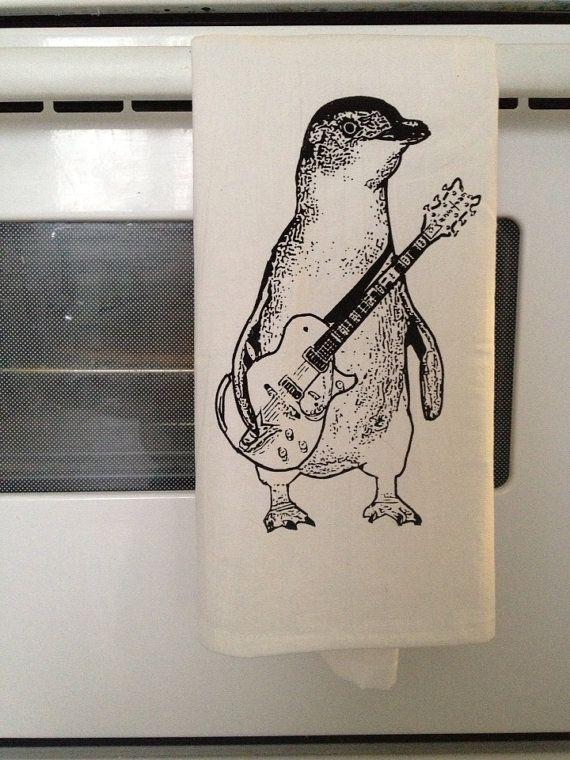 Tea Towel Penguin  Penguin by MsStrange on Etsy