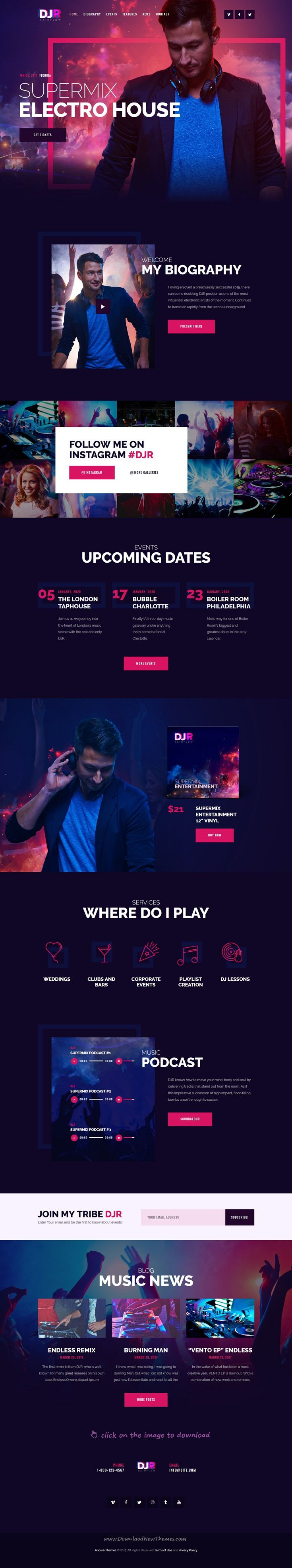 DJ Rainflow is clean and modern design responsive #WordPress theme for #music, band and #musician website to live preview & download 👆 click on the image.