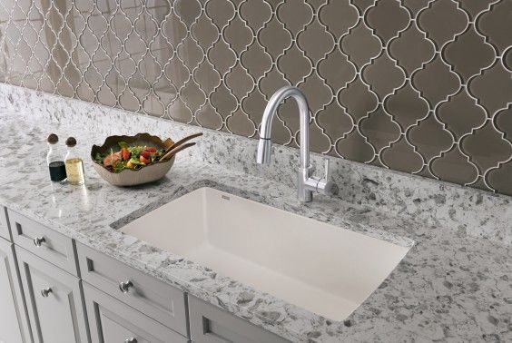 BLANCO DIAMOND Super Single TRUE Undermount #kitchen #sink in white SILGRANIT.
