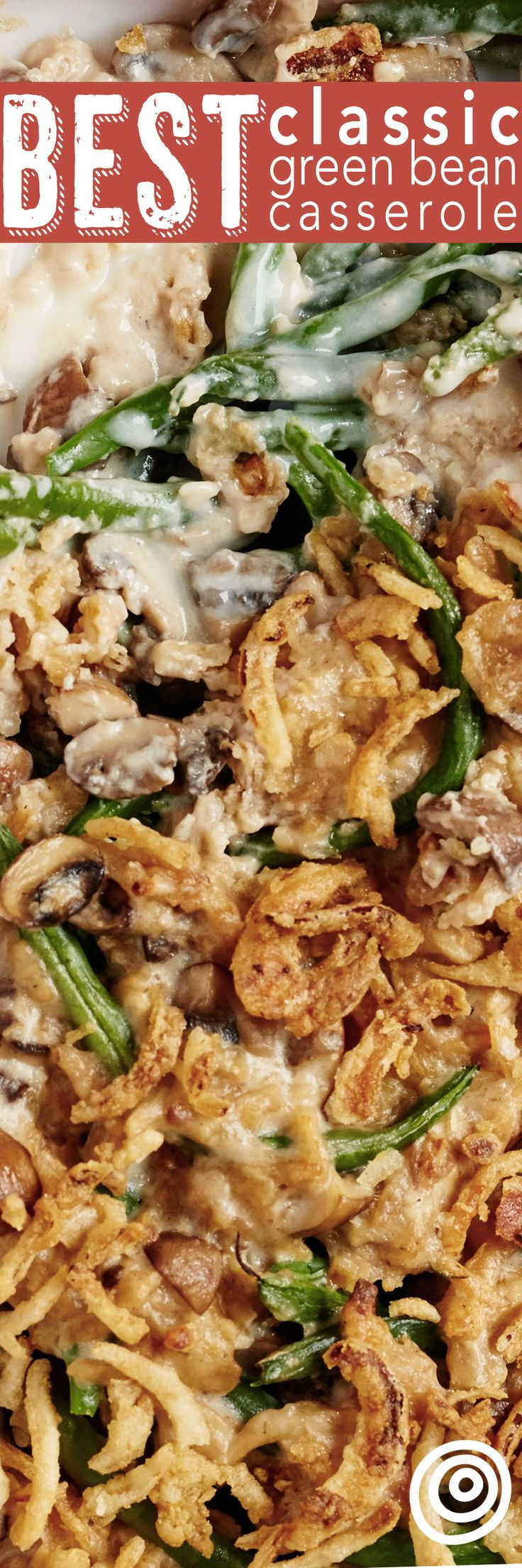How To Make THE BEST Classic Green Bean Casserole Recipe from scratch. NO cans here, which makes it slightly more healthy. Perfect for Thanksgiving or Christmas, and easy to make too! We like to use frozen green beans, lots of fresh mushrooms, and other tasty whole ingredients that your family will absolutely love.