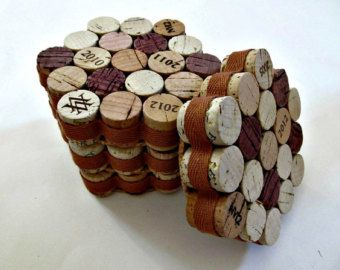 Honeycomb Wine Cork Coasters with Khaki Ribbon by LizzieJoeDesigns