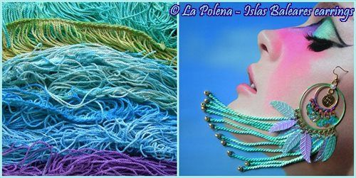 https://flic.kr/p/QeDfay   Islas Baleares earrings   Hand dyed vintage fringe earrings by La Polena. Hand painted brass earrings with sequins and coins.
