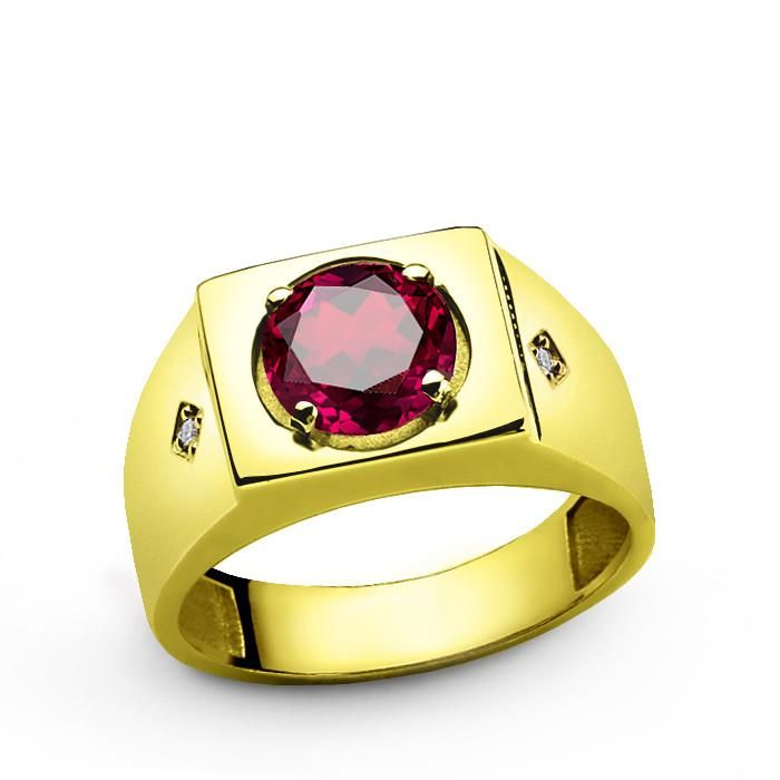 10k Yellow Solid Gold Men's Ring with Ruby Gemstone and Natural Diamonds #mensfashionpost #emerald #sapphire #turquoise #onyx #agate #silverring