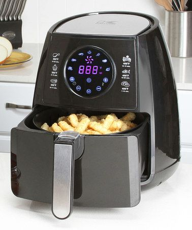 Look what I found on #zulily! Black Digital Air Fryer & Dual Layer Rack  Make fried delights without all the grease and oil with this device that uses hot air technology. The versatile design allows for roasting, grilling and baking food as well.  Includes fryer, dual rack and recipe book 11.25'' W x 13.5'' H x 13.5'' D Adjustable temperature up to 400º Built-in 60 minute timer Touchscreen interface Stainless steel / plastic Wipe clean Imported #zulilyfinds