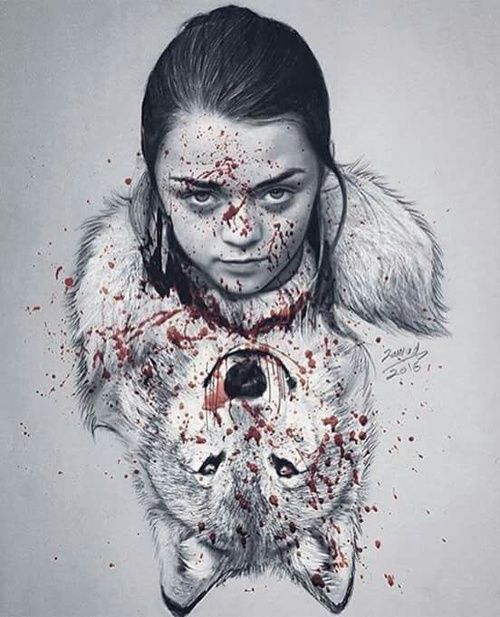 Nymeria & Arya Stark fanart -Game of thrones                                                                                                                                                                                 Mais