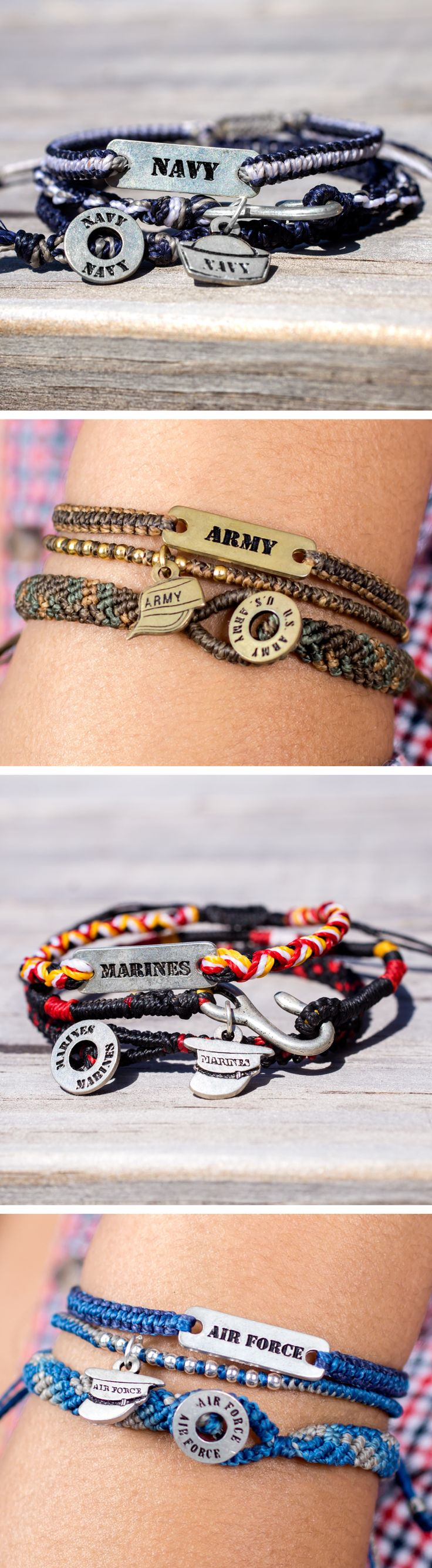 Woven with waxed thread and accented with metal beads and patriotic charms, this bracelet boasts your love of country and pride in those defending it.