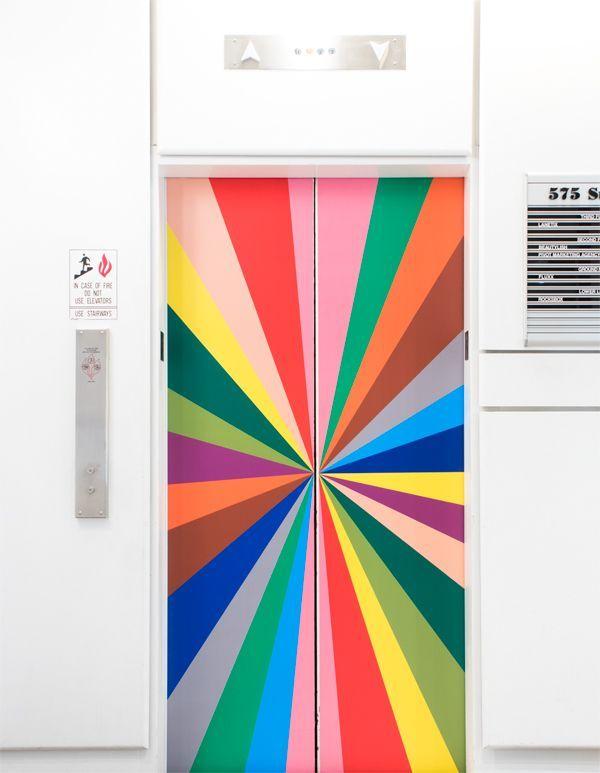 Rainbow elevator door / color factory