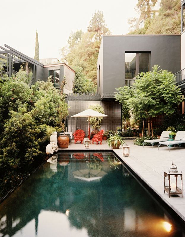 The terrace of designer Hutton Wilkinson's Beverly Hills home