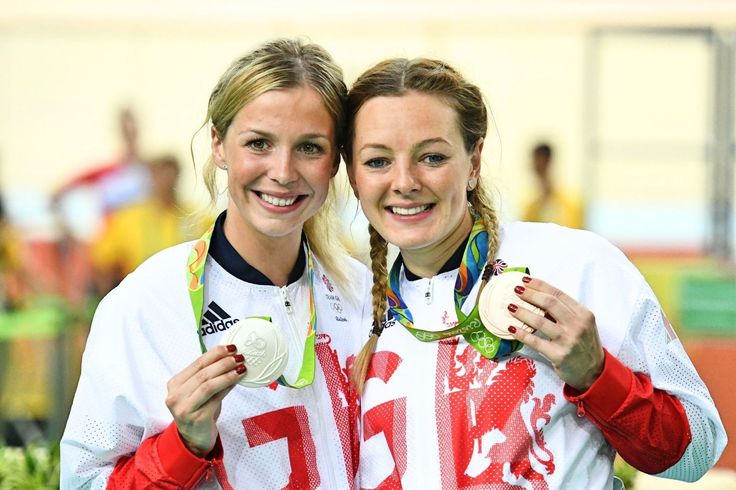 Becky James and Katy Marchant show off their silver and bronze medals in the women's sprint. The latter's third place ensured every Brit to have raced at Rio returned with a medal (pic: Sirotti)
