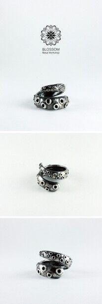【 章魚觸手 】 ● 訂製款 ─ 戒指,纏繞的章魚觸手。