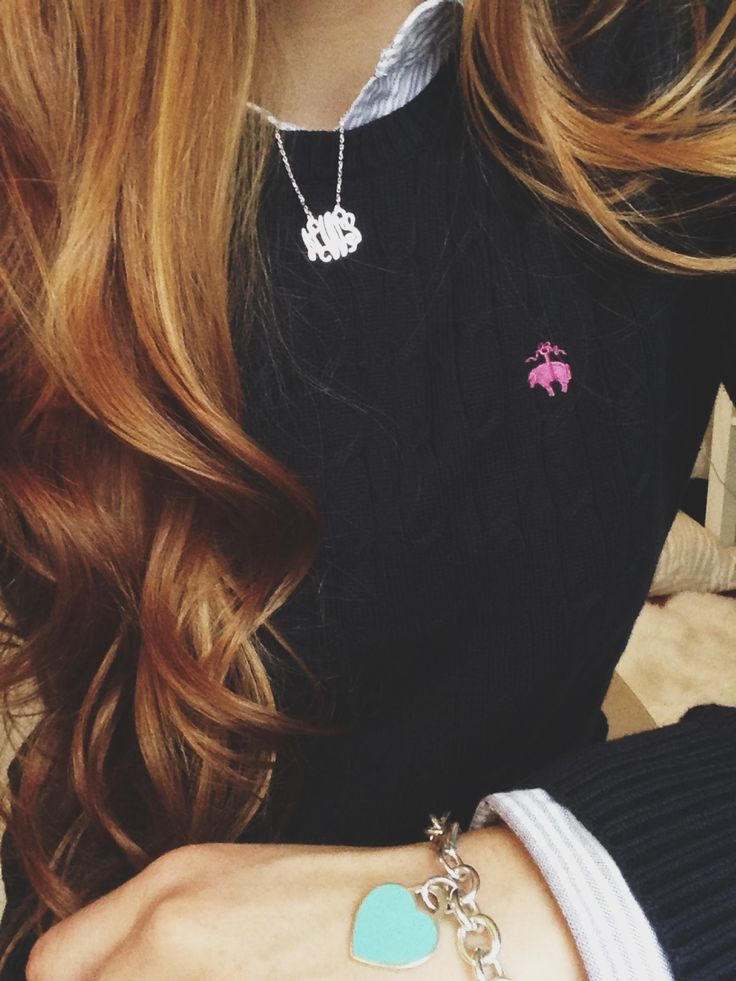 preppy. ♡ black long sleeve sweater <3 Monogrammed necklace is adorable ! love this outfit