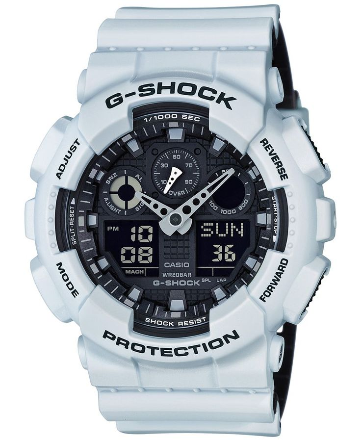 Go beyond being on time with this feature-rich white resin watch created with precision by G-Shock. | White resin strap | Rounded case, 51x55mm | Black dial with white stick indices, two hands, three