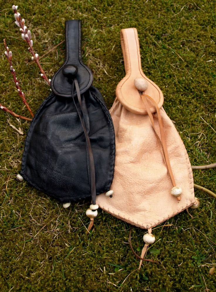 Two 15th century pouch purses. A type of purse worn by men and women alike