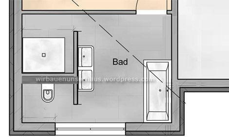 Skizze der T-Wand im Badezimmergrundriss