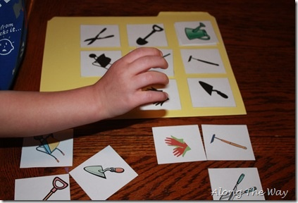 Garden tool shadow matching game from along the way i for Gardening tools preschool