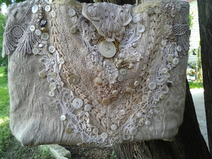 Ladies Shabby Chic Lace Purse made from Grandma's handmade lace, antique mother of pearl buttons and beads. by PoshPurseEmporium on Etsy https://www.etsy.com/listing/465168910/ladies-shabby-chic-lace-purse-made-from