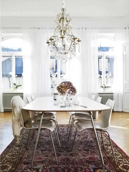 Chandelier Lighting White Mid Century Modern Table A Vintage Persian Rug Homedecor