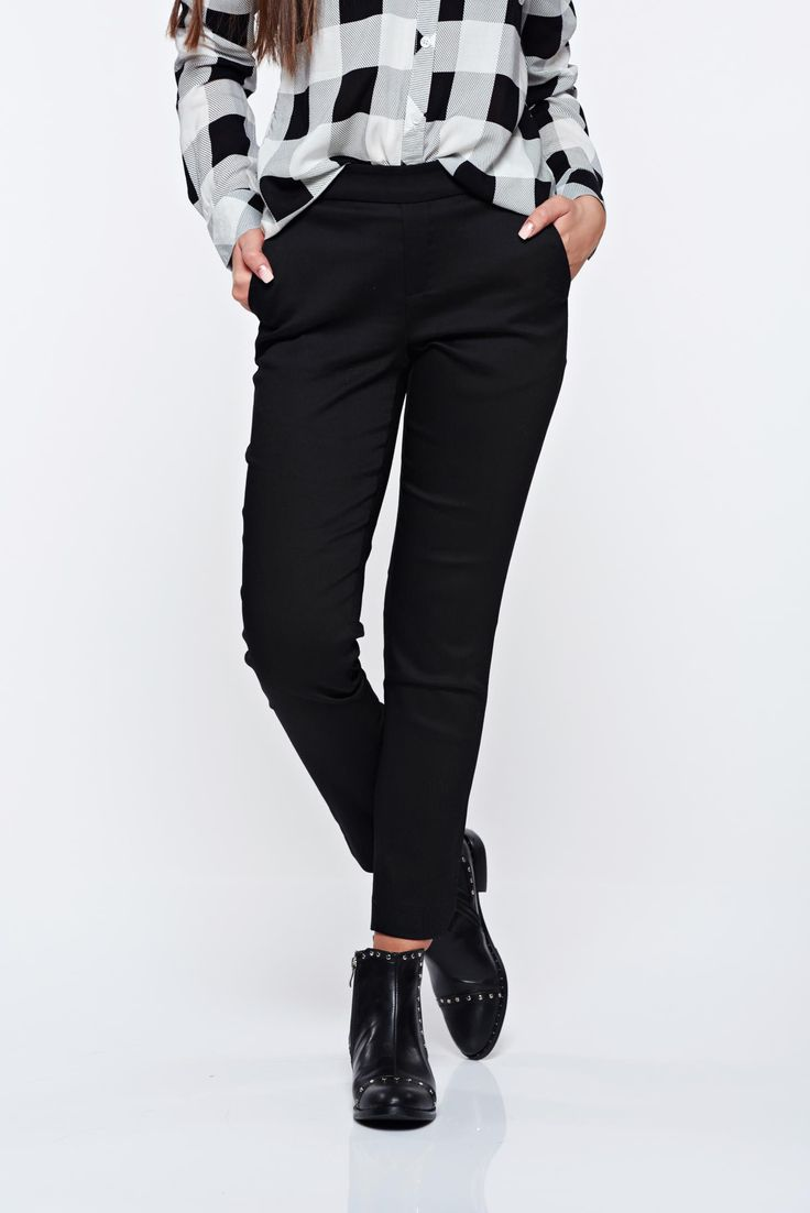 Top Secret black trousers casual conical with medium waist with elastic waist, tented cut, front pockets, back pockets, elastic waist, elastic fabric, soft fabric