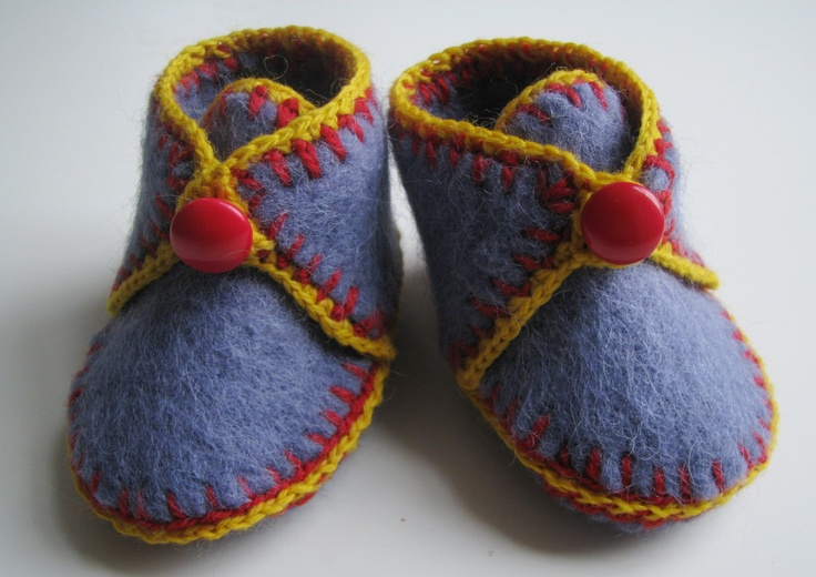 Upcycled Felted Sweater Baby Booties Sz 3 - 6 Months. $19.99, via Etsy.