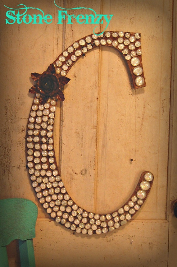 Spectacular Monogram Wooden Letter C with Clear Stones and by StoneFrenzy