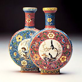 Famille Rose Conjoined Vase with Panels of Birds and Flowers, Ch'ien-lung Reign (1736-1795), Ch'ing Dynasty (1644-1911), ceramics, Chinese, artist unknown