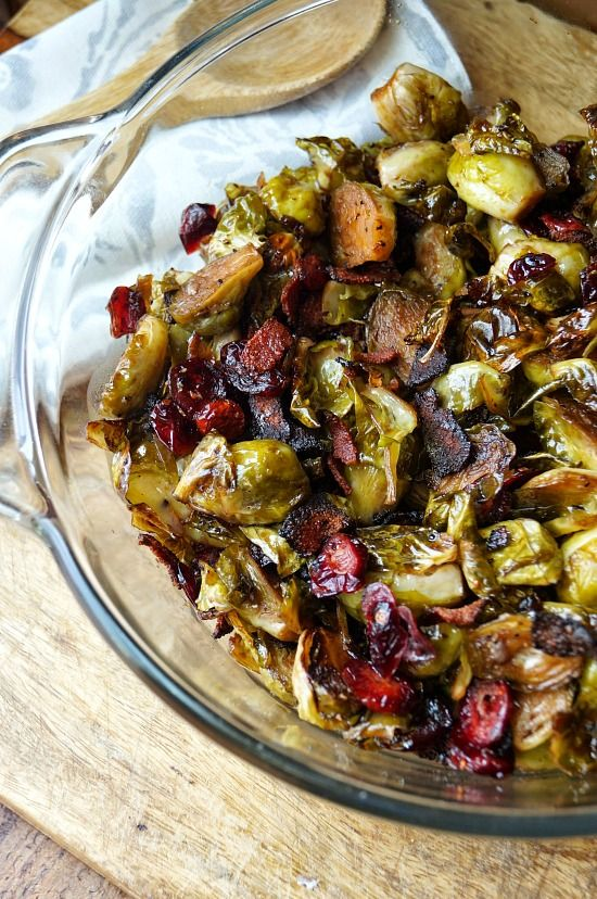 These Maple Balsamic Roasted Brussel Sprouts with Bacon and Cranberries make the most delicious side dish for any dinner or occasion!