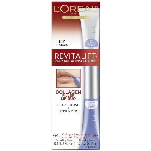 L'Oreal Revitalift Deep Set Wrinkle Collagen Filler Lip, 0.2 Fluid Ounce by Revitalift. $6.50. Dramatically reduces lipstick feathering instantly redefines the lip-line. Lightweight formula that defines and contours the lips. Plumps lips instantly plumping effect appears to last for hours day after day, provides lips with plumping action does not change lipstick color lightweight, non-sticky, tasteless formula, quickly absorbs. Step 1: Anti-feathering collagen biosphe...
