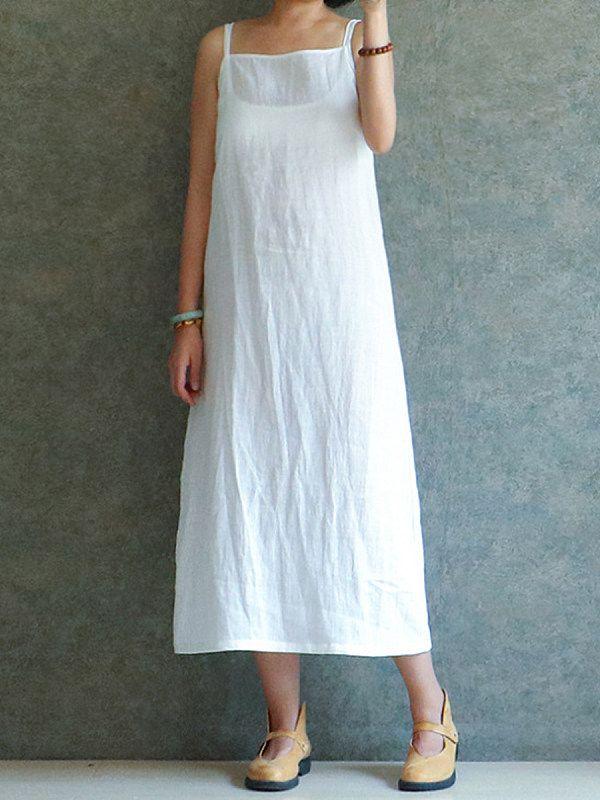 Spaghetti Strap Plain Maxi Dress | Linen