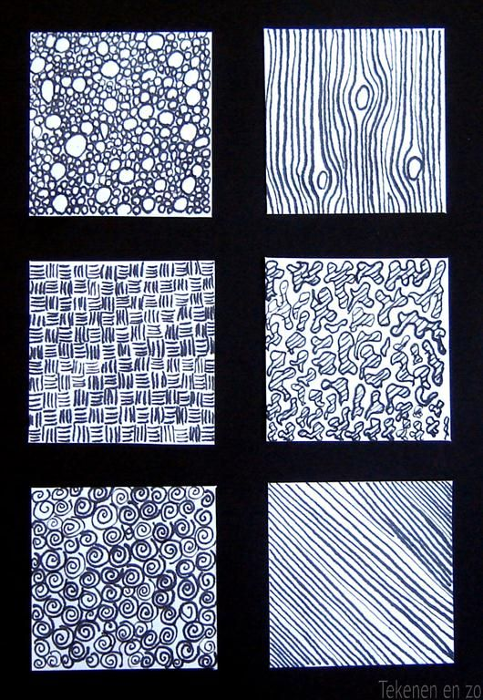 Tekenen en zo: Oefening met oost-indische inkt, textuur tekenen.