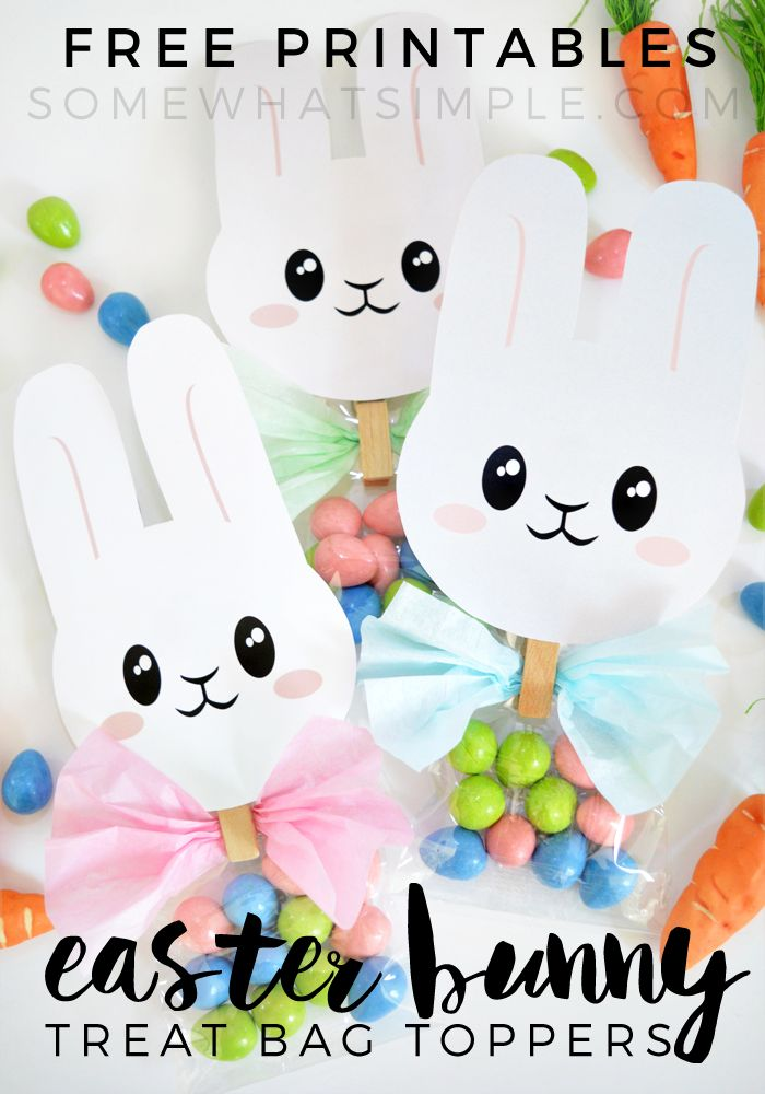 Easter Bunny Treat Bag Toppers - Somewhat Simple