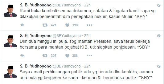 Dituding Simpan Dokumen Terkait Munir SBY Segera Siapkan Data dan Fakta  [portalpiyungan.com]Presiden RI ke-6 Susilo Bambang Yudhoyono (SBY) akhirnya angkat suara terkait hilangnya dokumen Tim Pencari Fakta (TPF) kasus kematian Munir usai dirinya dituding menyembunyikan dokumen tersebut. Melalui akun twitternya@SBYudhoyono SBY menegaskandirinya selama dua minggu ini terus mengamati perkembangan soal dokumen TPF ini. SBY pun saat ini sedang mempersiapkan penjelasan soal ini bersama para…