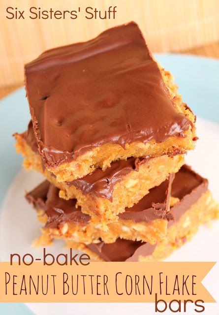 No-Bake Peanut Butter Corn Flake Bars Recipe: (Makes 15 bars) Ingredients: 1 cup crunchy peanut butter 1/2 cup granulated sugar 1/2 cup white corn syrup 3 cups corn flakes, crushed 2 cups milk chocolate chips
