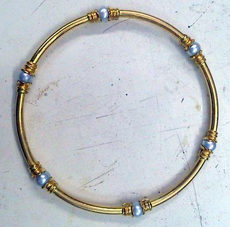 Gold bangle with pearls~22 K gold pearl bracelet jewelry