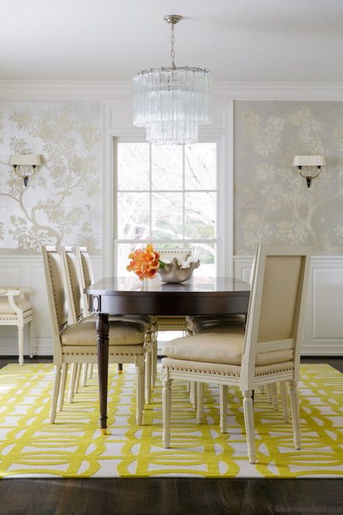 Hand Painted Silver Chinoiserie Wallpaper Transitional Dining Room Carrie Hatfield Interior Design