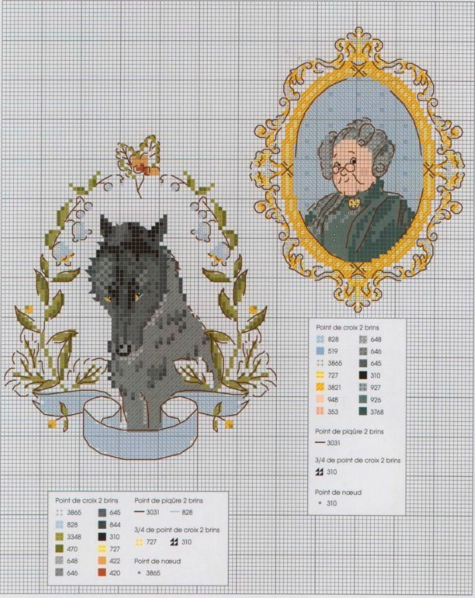 the wolf and grandma's profile, cross stitch