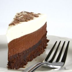Chocolate Mousse Cake. Three layers of rich chocolate bliss.