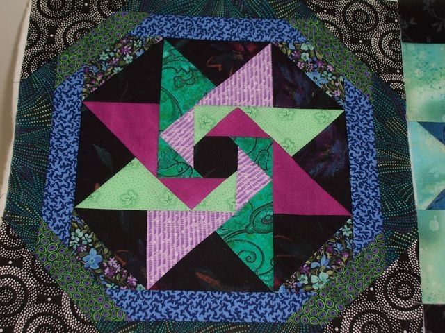 """Star of the Orient"" a Judy Martin pattern from her book 'Scrap Quilts', 1985."