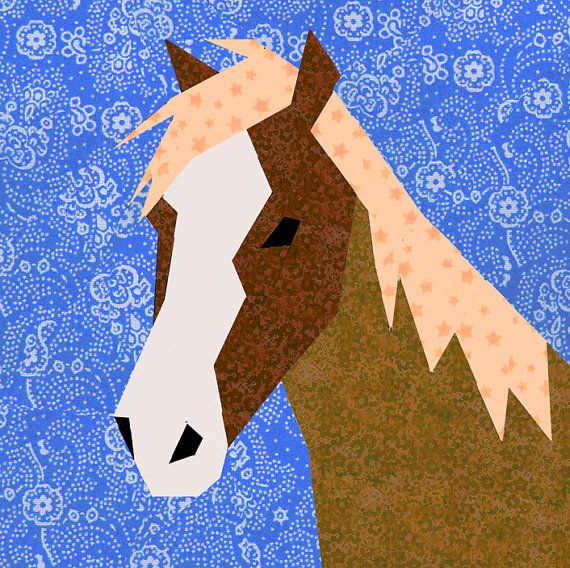 Horse paper pieced quilt block pattern PDF by BubbleStitch on Etsy, $2.90