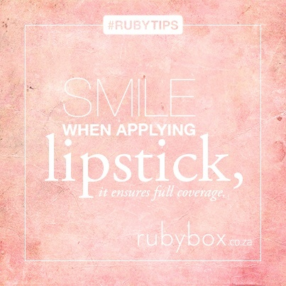 For perfect cover, try it out, SHOP our gorgeous lipsticks here: http://rubybox.co.za/shop/makeup/lips/lipstick?utm_source=pinterest.com_medium=words_campaign=smile