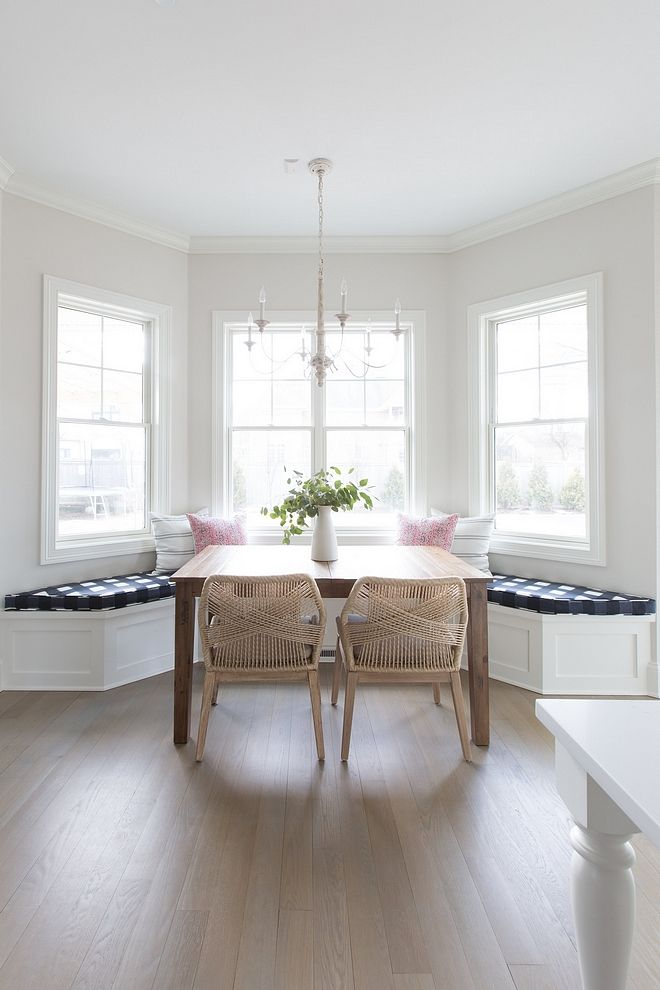 Kitchen Nook With Builtin Banquette Buffalo Check Cushion French Chandelier And Rope Wred Dining Chairs Paint Color Is Benjamin Moore