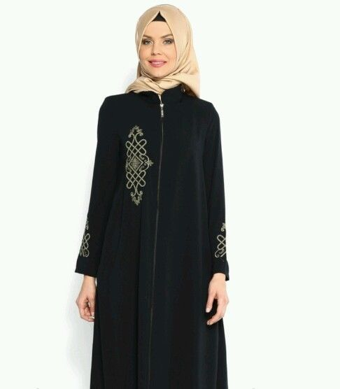 Turkish Abaya, Embroidered, Polyester, Women, Black, Size 46 (XL) in Middle East | eBay
