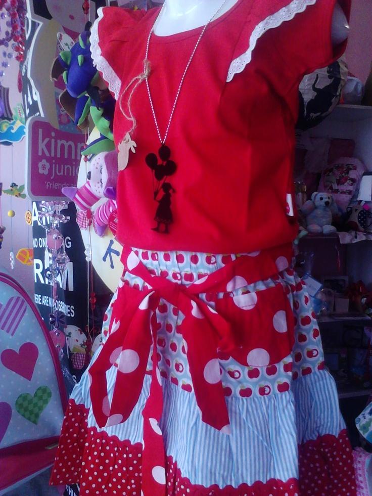 Oobi Flutter Tee in scarlet, Oobi Sophie Skirt in blue apple & balloon girl acrylic necklace by Rare Rabbit