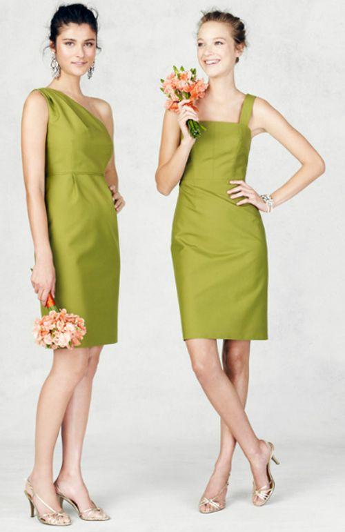 Vestidos cortos y sofisticados para damas de honor en color verde - Foto: J.Crew Bridesmaid Collection