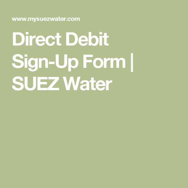 Direct Debit Sign-Up Form | SUEZ Water
