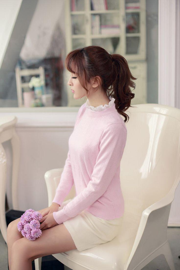 Japanese style - Slim hedging long-sleeved warm pink rabbit hari sweater