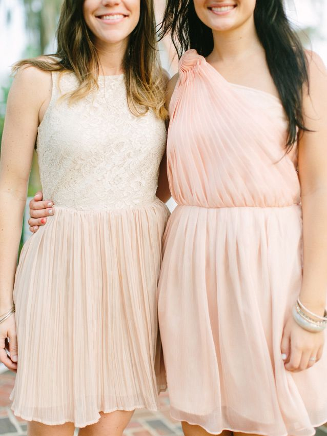 pink bridesmaid dresses http://www.weddingchicks.com/2013/09/11/peach-and-gray-wedding/