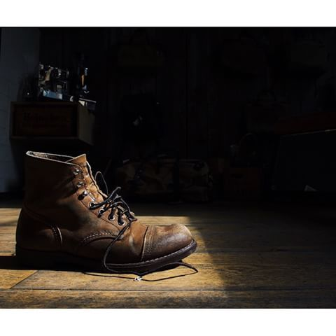We love it when sunshine hits our Red Wing Shoe Store Amsterdam.  Especially when it lights up some boots. This is a well worn Iron Ranger 8113 in Hawthorne Muleskinner. | www.redwingamsterdam.com |